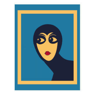 Retro space woman minimal Vector Art Postcards
