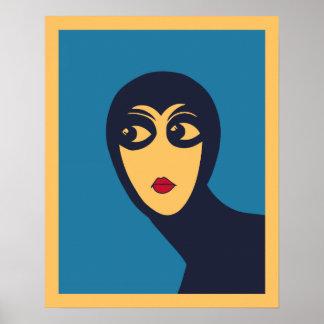 Retro space woman minimal Vector Art Print