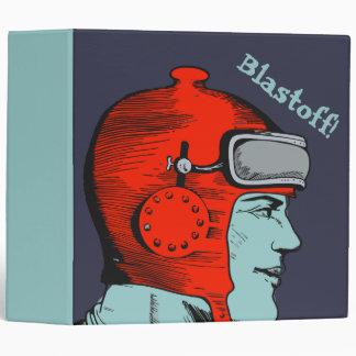 Retro Spaceman Red Helmet 3 Ring Binder