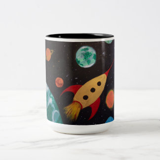 Retro Spaceship & Planets Two-Tone Coffee Mug