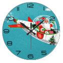 Retro Spaceship Santa Christmas Clock (large)