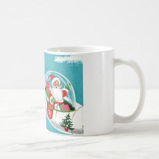 Retro Spaceship Santa Christmas Mug (half)