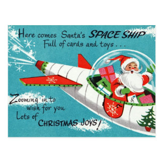 Retro Spaceship Santa Christmas Postcard