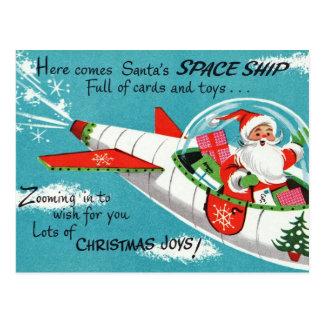 Retro Spaceship Santa Christmas Postcard