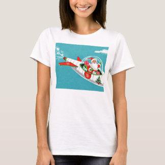 Retro Spaceship Santa Christmas T-Shirt