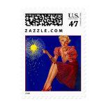 Retro Sparkler Gal Girl Missing You Postage Stamp