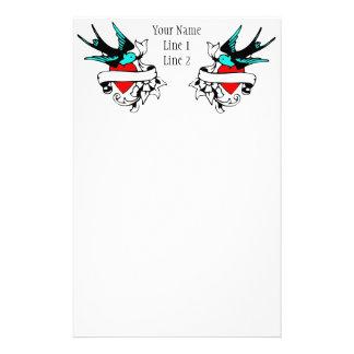 Retro Sparrow Tattoo Binder Stationery