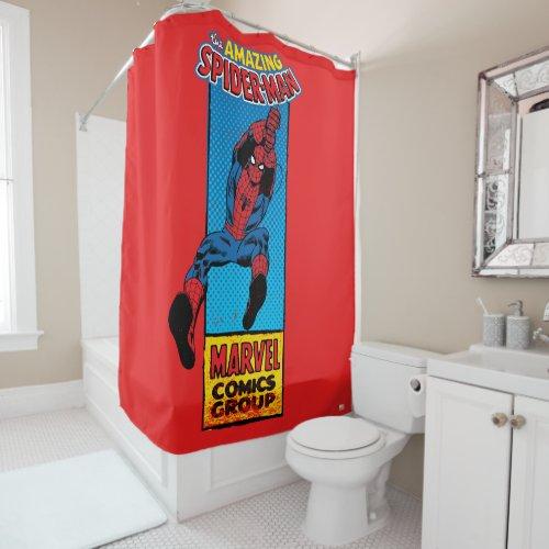 Retro Spider-Man Comic Graphic Shower Curtain