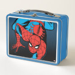 """Retro Spider-Man Wall Crawl Metal Lunch Box<br><div class=""""desc"""">Check out this retro Spider-Man comic book art of him crawling down a wall.</div>"""