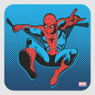 Retro Spider-Man Web Shooting Square Sticker