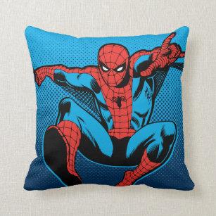 Retro Spider-Man Web Shooting Throw Pillow