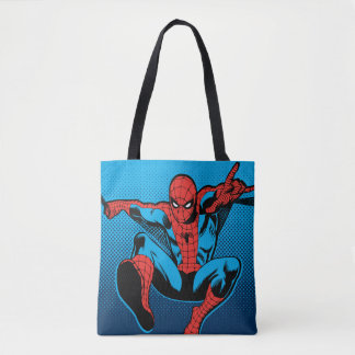 Retro Spider-Man Web Shooting Tote Bag