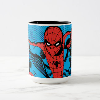 Retro Spider-Man Web Shooting Two-Tone Coffee Mug