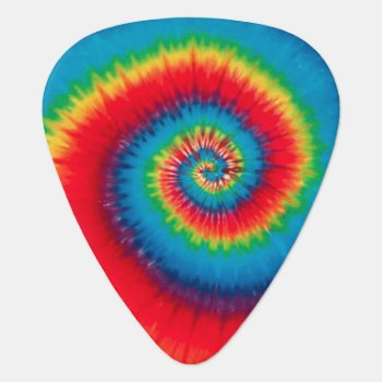 Retro Spiral Tie Dye Guitar Pick by Siberianmom at Zazzle