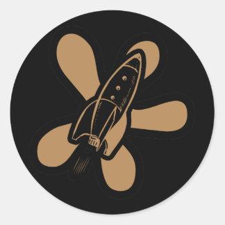 Retro Splat Rocket Black Orange Classic Round Sticker