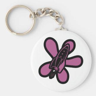 Retro Splat Rocket Black Pink Basic Round Button Keychain