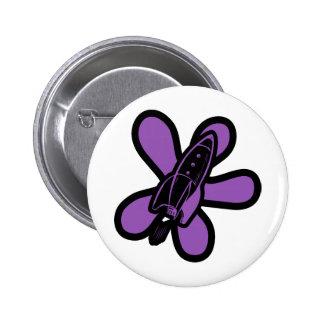 Retro Splat Rocket Black Purple Buttons