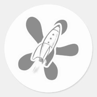 Retro Splat Rocket White Grey Classic Round Sticker