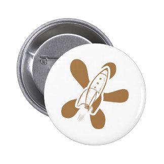 Retro Splat Rocket White Orange Pinback Button