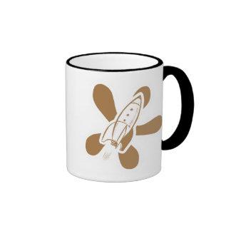 Retro Splat Rocket White Orange Coffee Mug