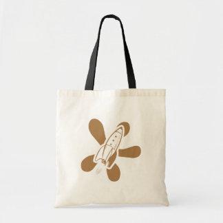 Retro Splat Rocket White Orange Tote Bag