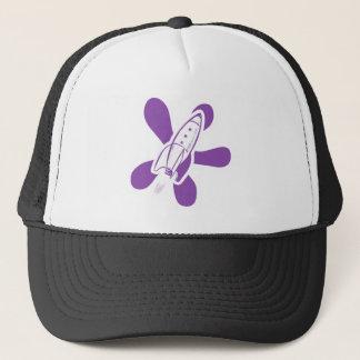 Retro Splat Rocket White Purple Trucker Hat