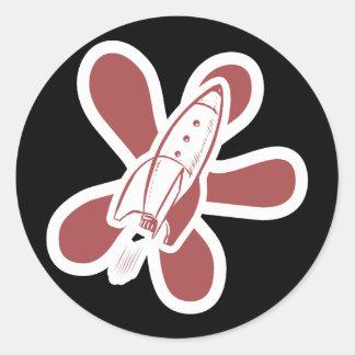 Retro Splat Rocket White Red Sticker
