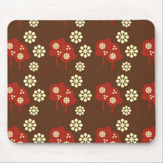 Retro splatter brown & red kawaii cloud pattern mouse pad
