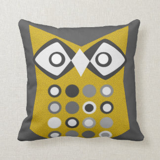 Retro Spotted Owl (Custom Background Color) Throw Pillow