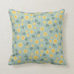 Retro spring buttercup floral flower girly pattern pillow