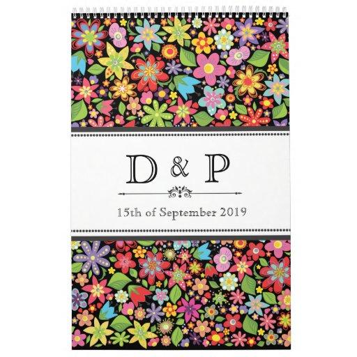 Retro Spring Flowers Monogram Wedding Guestbook Wall Calendar