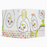 Retro spring flowers with polka dots 3 ring binder