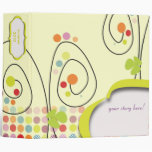 Retro spring flowers with polka dots 3 ring binders