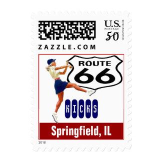 Retro Springfield IL Kick Travel Route 66 Vintage Postage