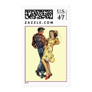 Retro Square Dancers Mid-century Postage Stamps