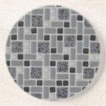 Retro Square Design Black and White Mosaic Tile Beverage Coasters