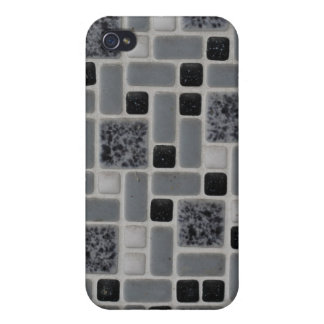 Retro Square Design Black and White Mosaic Tile iPhone 4/4S Covers