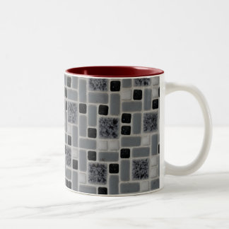 Retro Square Design Black and White Mosaic Tile Two-Tone Coffee Mug