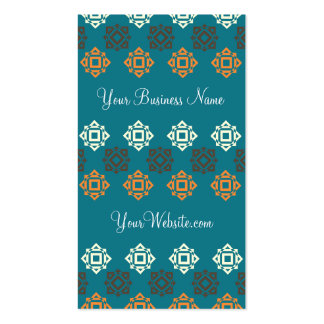 Retro Square Pattern Blue Custom Business Card