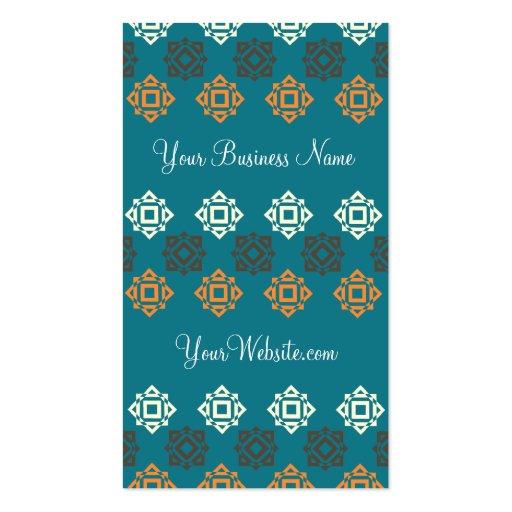 Retro Square Pattern Blue Custom Business Card