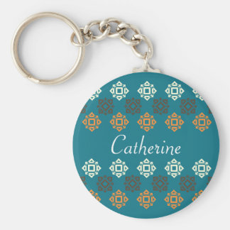 Retro Square Pattern Blue Personalized Keychain