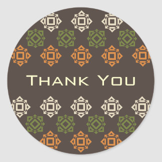 Retro Square Pattern Brown Thank You Sticker
