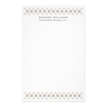 Retro Square Pattern Design Stationary Gray Stationery