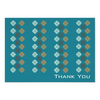 Retro Square Pattern Flat Thank You Card Blue