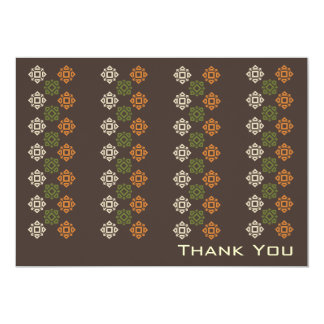 Retro Square Pattern Flat Thank You Card Brown