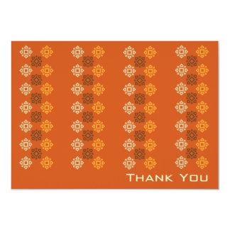 Retro Square Pattern Flat Thank You Card Orange