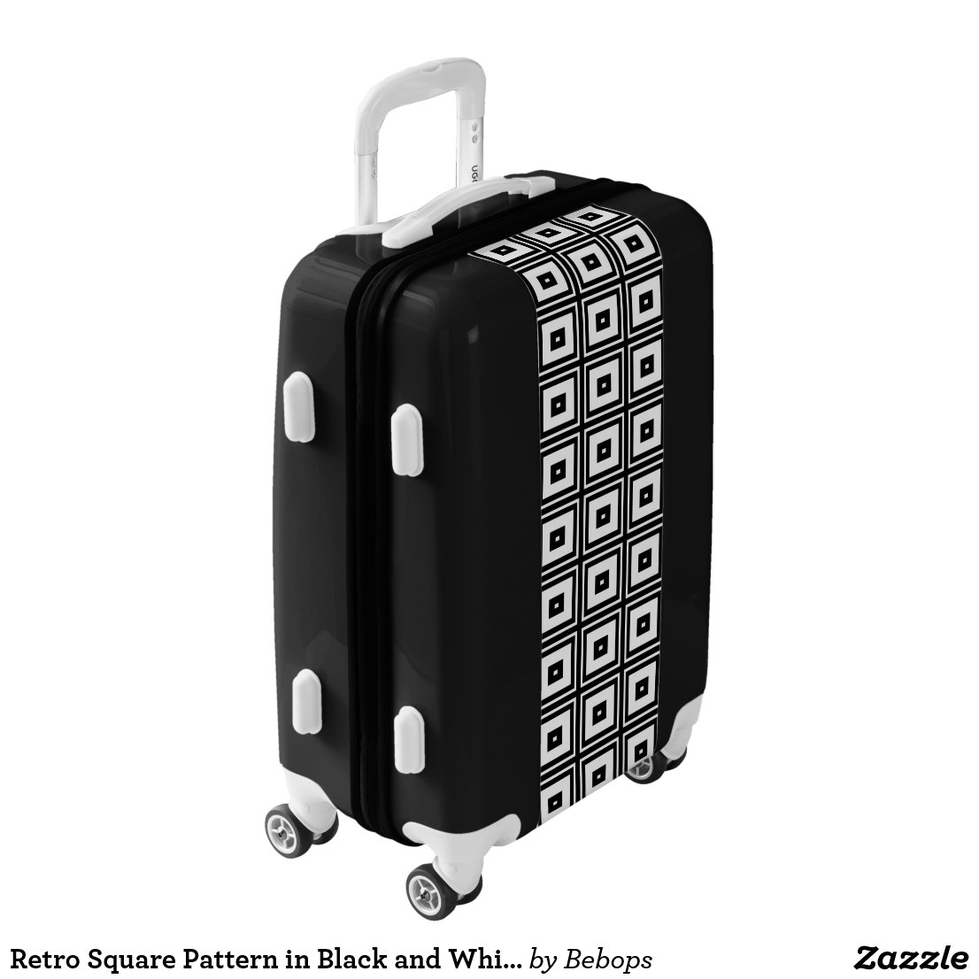 Retro Square Pattern in Black and White Luggage