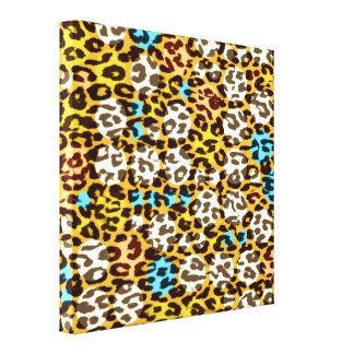 Retro square pattern leopard fur abstract texture canvas print