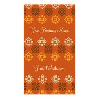 Retro Square Pattern Orange Custom Business Card