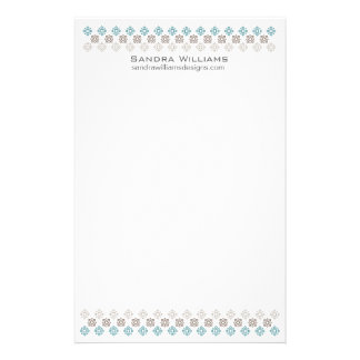 Retro Square Pattern Stationary Blue/Brown Stationery